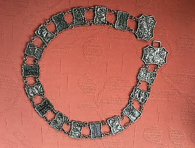 """Antique Chinese Silver Belt Circa 1890 Signed. Length 30.5"""""""