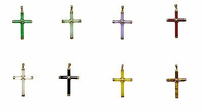 14k Solid Gold Bail Small Natural Stone Cross Charm Pendant