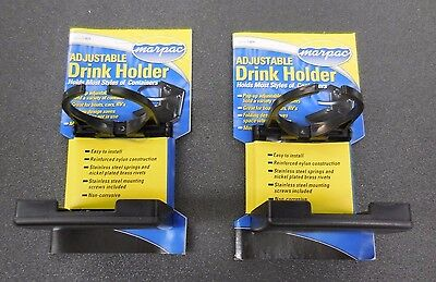 Set Of 2 Black Adjustable Folding Cup Drink Holder For Boat Car Rv W/hardware