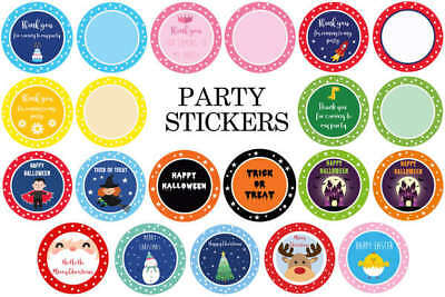 Party Stickers Round Thankyou & Plain for Sweet Cone Bags Seals **BIRTHDAY**