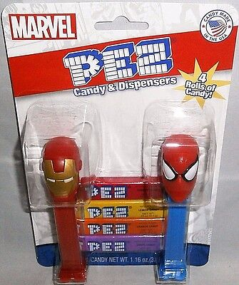 MARVEL PEZ Twin Pack    IRON MAN and SPIDERMAN W/ 4 Rolls of Candy