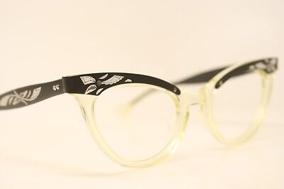 NOS Black Clear Combination Vintage Cat Eye Glasses cateye Unused Frames