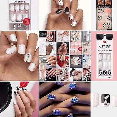 Kiss Impress Press On Nails Square Variety of White & Multicolored Accents Rare