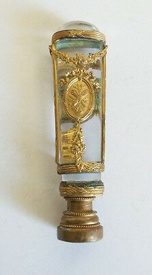 ANTIQUE 19th C. FRENCH EMPIRE GILT BRONZE & CRYSTAL WAX SEAL / DOCUMENT STAMP