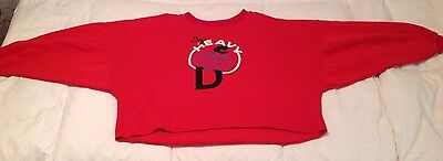80s Sz Medium Vintage Womens Red Sweatshirt Batwing Sleeves and funny graphic