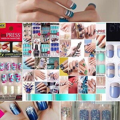 Kiss Impress Press On Nails Square & Oval Blue Green Teal Rare Designs