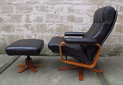 DANISH MODERN SKIPPERS MOBLER LEATHER LOUNGE CHAIR/OTTOMAN recliner mid century