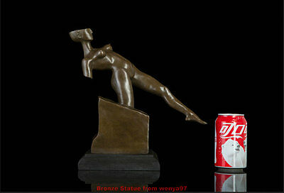 """Art Deco Sculpture """"Stride Across"""" Abstract Mutilated Naked Woman Bronze Statue"""