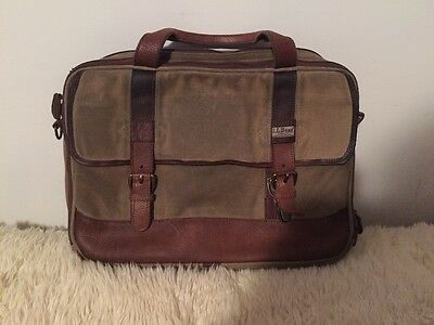 Ll Bean Waxed Canvas Leather Briefcase Messenger Bag Computer Distressed