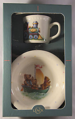 Lenox Heirloom Collection China Bears 2 pc Bowl Cup Child Box