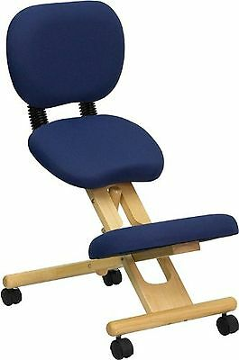 Mobile Wooden Ergonomic Kneeling Posture Chair in Navy Blue Fabric with Recli...