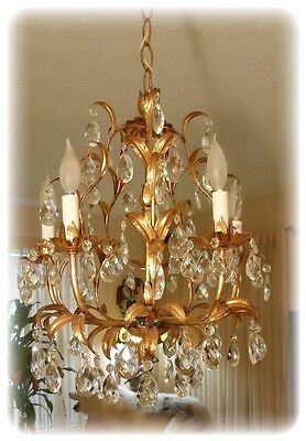 Vintage Gilt Tole Italian Gilded Chandelier With 5 Light 90 Prisms