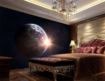 Night Earth Sunny Space Full Wall Mural Photo Wallpaper Print Kids Home 3D Decal