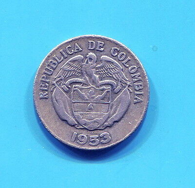Colombia - Beautiful Silver 20 Centavos, 1953 B