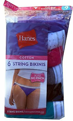 Hanes Women's Cotton Sporty String Bikini Panty (Pack of 6) NEW