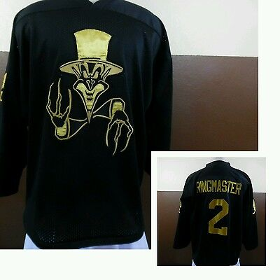 VTG Insane Clown Posse ICP RINGMASTER #2 Black/Gold HOCKEY JERSEY by K1 Sz 2X