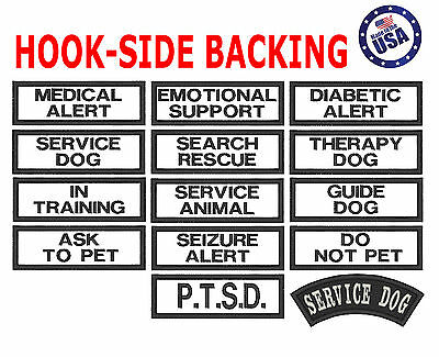 HOOK-SIDE BACKING Small Service Working Dog Patch 1x3 Vests 14 Therapy Patches