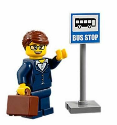 Lego City Fun In Park 60134 Business Woman In Blue Suit W/ Attache Bus Stop Sign