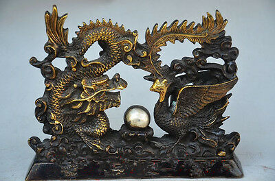Collectible Old Chinese Bronze Gilt Handwork Carved Dragon Phoenix Statues