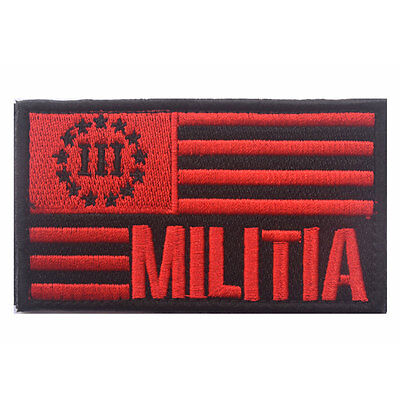 USA American Flag Three Percenter 3% Militia Tactical Morale Desert Badge Patch