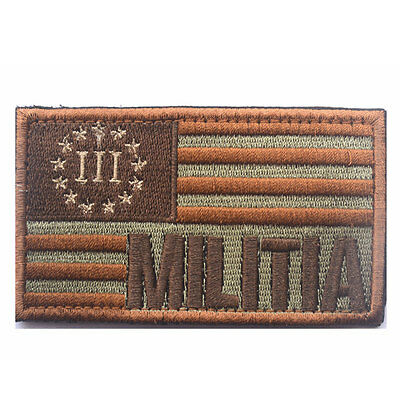 USA Militia Milspecs American Flag Three Percenter Tactical Morale Decal Patch