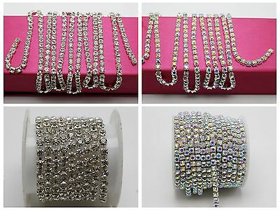 1 Meter Silver Clear Crystal Rhinestone Close Chain Trim SS16 SS14 SS12 SS8