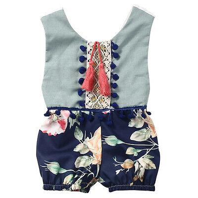New Printing Baby Girl Romper Summer Toddler Rompers with Tassel Infant Jumpsuit