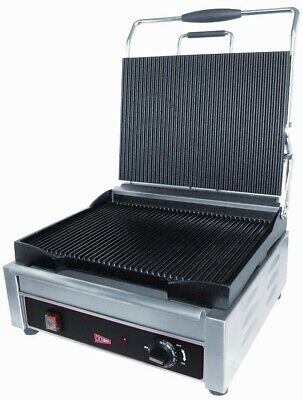 "GMCW SG1LF Large Single Smooth Panini Grill 14"" x 11"" Cooking Surface"