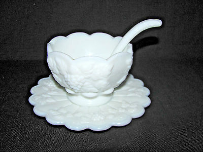 Westmoreland Paneled Grape Milk Glass Condiment Bowl, Underplate and Spoon Set