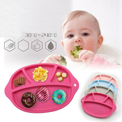 1pc Hot Silicone Food Plate Mat Baby Toddler Child Divided Dish Pads Bowl Plates