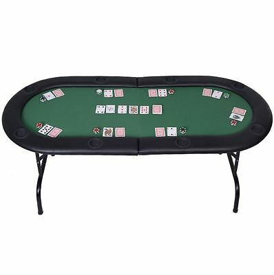 8 Player Folding Poker Table Top Texas Holdem Blackjack Card Casino Play Table N