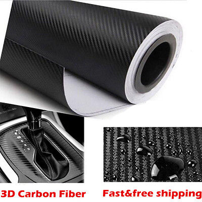 Car 3D Carbon Fibre Vinyl Wrap (Air/Bubble Free) Black 2m x600mm Sheet Sticker
