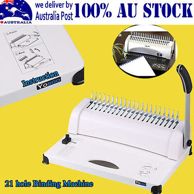 Useful Paper Comb Binding Machine Standard 21 Hole Plastic Coil Punch Binder ADH