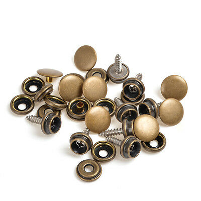 Antique Brass Pack 10 Sets Press Studs Snap Fasteners WOOD TO FABRIC w/Screws