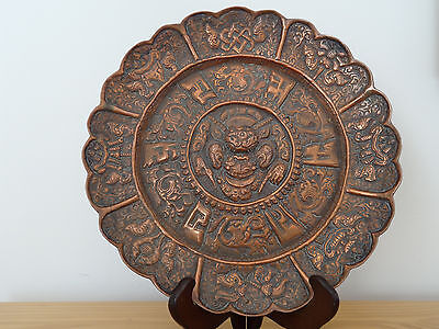c.18th - RARE Antique Chinese Tibetan Tinned Copper 8 Buddhist Treasures Plate