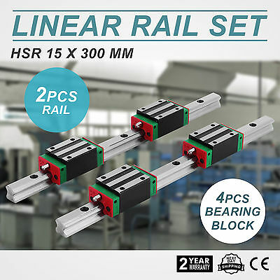 2Pcs 300mm Linear Guideway Rail + 4x Square Block New High Load Smooth Motion