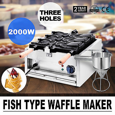 Commerical Taiyaki Fish Waffle Maker Machine With Funnel CE 3 hole  GOOD UPDATED
