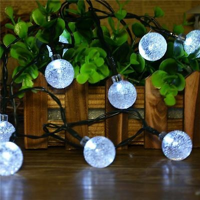20 LED Crystal Ball Globe Ornament Lights String Lights Solar Powered Waterproof