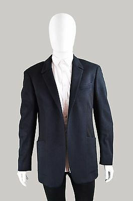 Vintage THIERRY MUGLER Men's Blazer Wool & Cashmere Blazer Medium Large Navy