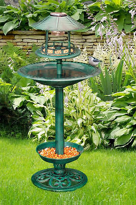 Solar Bird Hotel Garden Feeder & Bath  Light Ornamental Table Station Garden