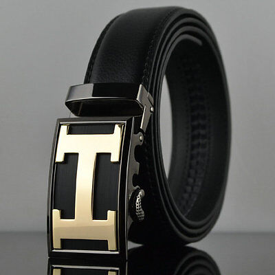 Fashion Casual Gold H Cowhide Leather Mens Belt Waistband Strap Automatic Buckle