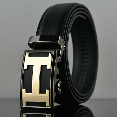Fashion Casual Gold H Genuine Leather Automatic Buckle Mens Belt Waistband Strap