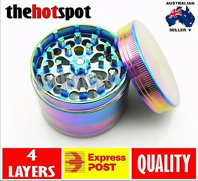 2Metal Hand Herb GRINDER 4 Layers Rainbow Tobacco Smoke Muller 40mm Lid Pot Roll