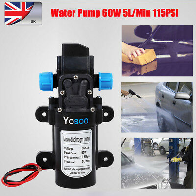 New Quality 12V Water Pump High Pressure 115Psi 5Lpm 60W Caravan Camping Boat UK
