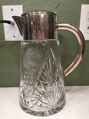 """Large Vintage Cut & Etched Crystal Glass Water Pitcher Silver Plated Germany 10"""""""