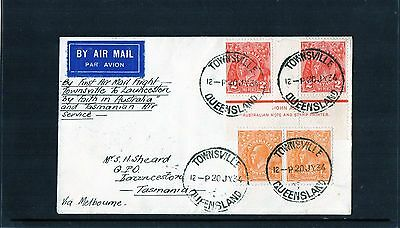 1934 Townsville-Launceston 1st Flight Cover, Ash Imprint Pair 2d KGV & Pair, MC