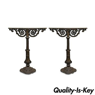 """Pair of 27"""" Antique Ornate Cast Iron French Pedestal Table Bases Stands Parts"""