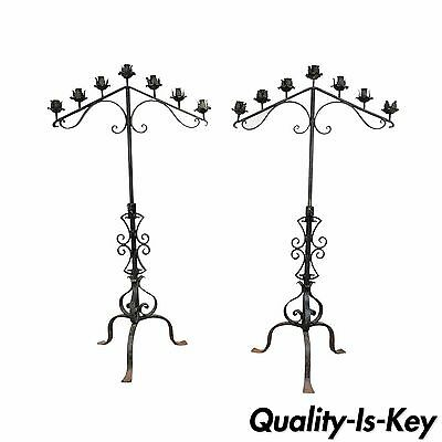 "61"" Pair of Antique Gothic Mission Arts & Crafts Wrought Iron Candelabras Church"