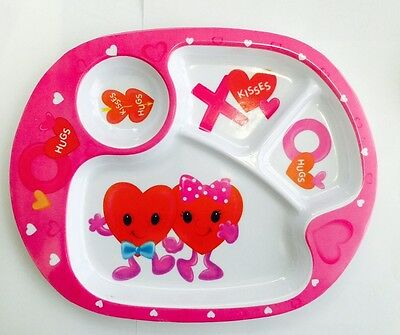 kids toddler baby babies divided feeding dinner plate- Blue & Pink