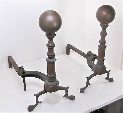 "Antique 1800s Federal Brass 4 ½"" Cannon Ball Claw Foot Fireplace Andirons 22"" T"